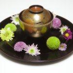 万菊蒔絵 吸物椀/溜塗 丸皿(大)