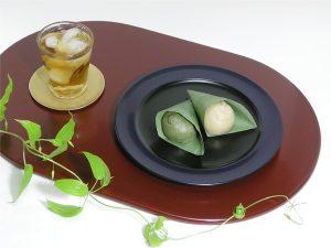 パン皿 黒縁青塗/薄板