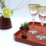 "Negoro Tray + Flower Vase ""Hourin"""